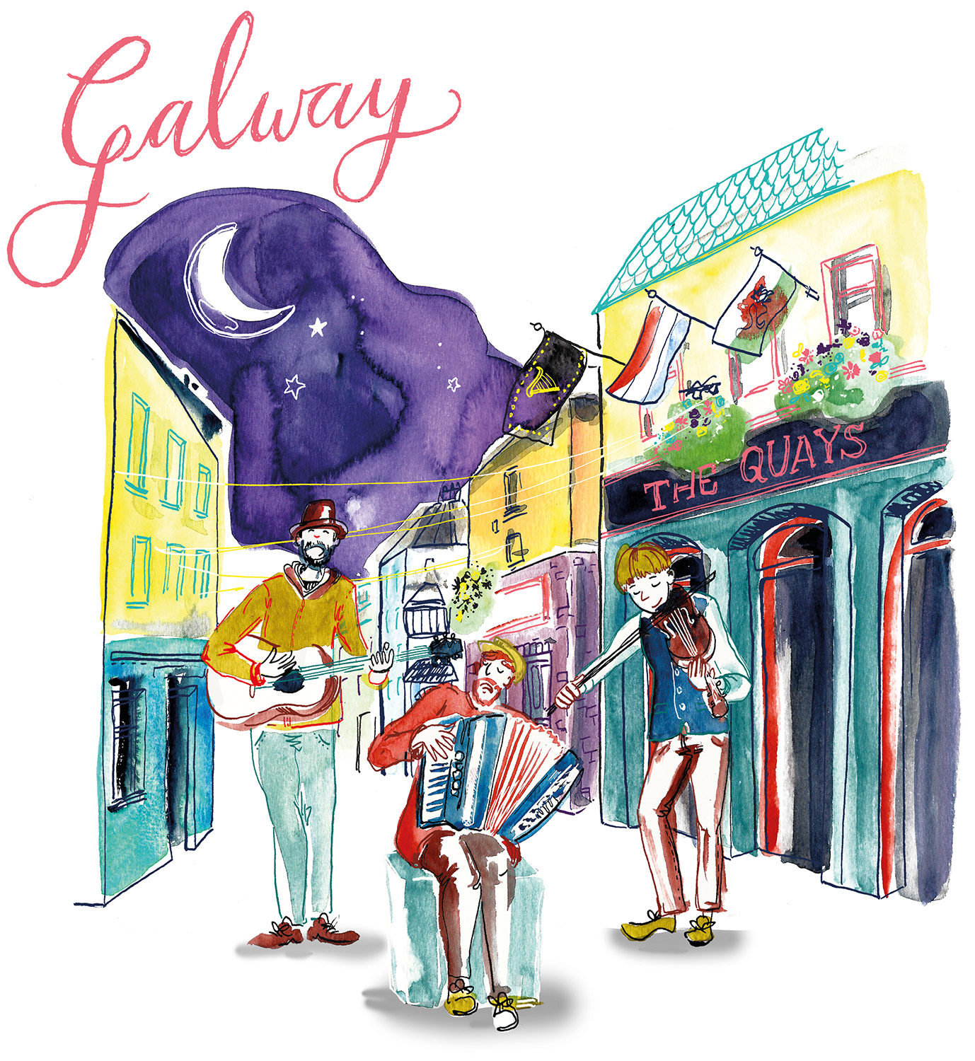illustrierte Landkarte, Illustrated Map, sightseeing Irland, Galway in Aquarell